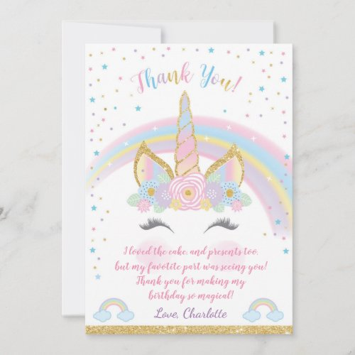 Unicorn Birthday Thank You Card, Unicorn Party