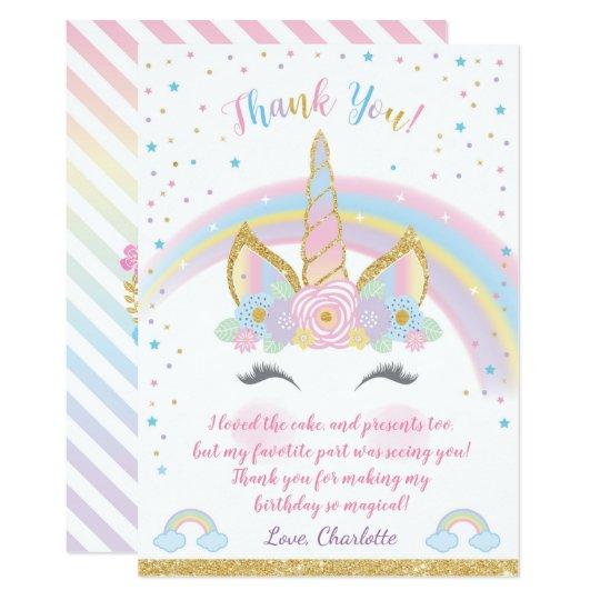 Unicorn birthday thank you card unicorn party card zazzle unicorn birthday thank you card unicorn party card bookmarktalkfo Gallery