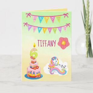 Unicorn Birthday Theme 6 years old Card