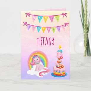 Unicorn Birthday Wishes for your 8 year old Card