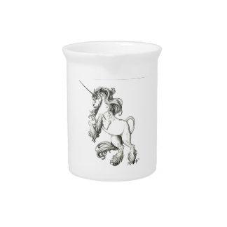 Unicorn black and white beverage pitcher