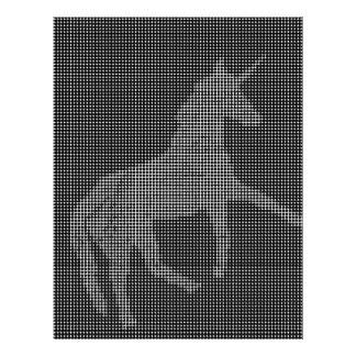 unicorn black white pixelated customized letterhead
