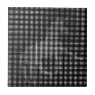 unicorn black white pixelated tile