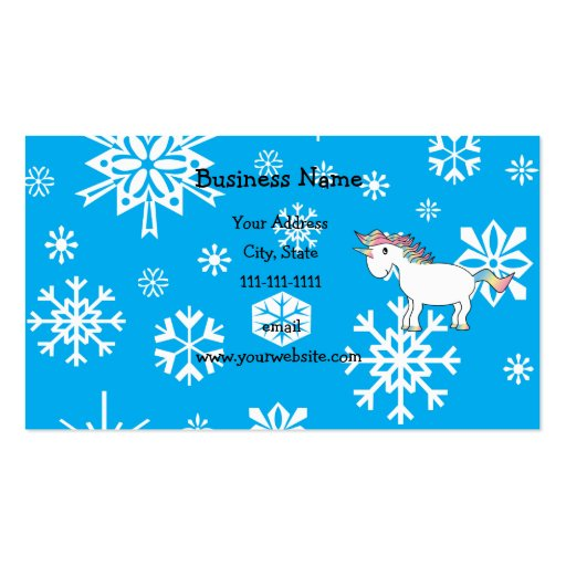 Unicorn blue and white snowflakes pattern business card template