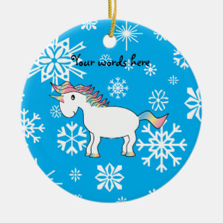 Unicorn blue and white snowflakes pattern christmas tree ornaments