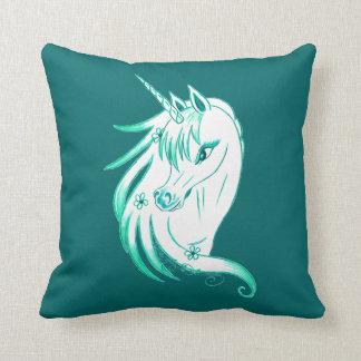 Unicorn Blue Dark Teal Background Throw Pillow