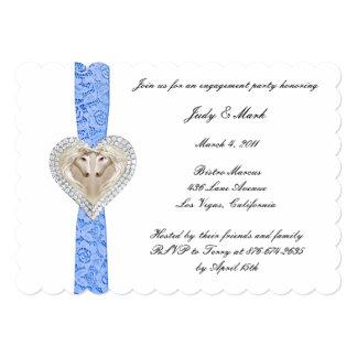 Unicorn Blue Lace Engagement Party Invitation