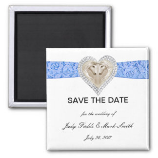 Unicorn Blue Lace Save The Date Magnet