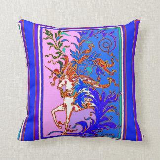 Unicorn, Blue, Purple Pillow by Sharles