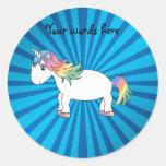 Unicorn blue sunburst stickers