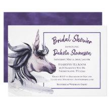 Unicorn Bridal Shower | Magical Purple Watercolor Invitation
