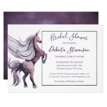 Unicorn Bridal Shower | Modern Royal Violet Purple Invitation