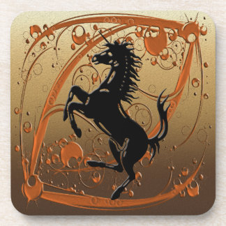 Unicorn bronze beverage coaster