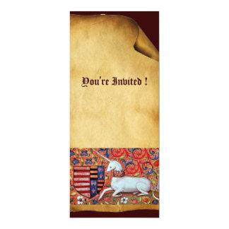 UNICORN ,brown blue white red champaign Card