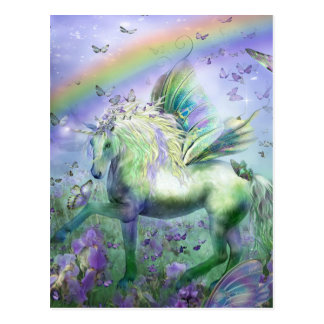 Unicorn Butterflies And Ranbows Postcard
