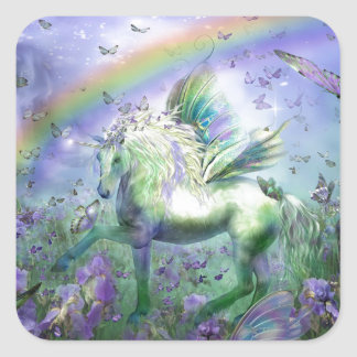 Unicorn Butterflies And Ranbows Square Sticker