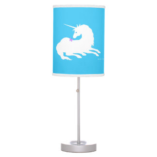 """""""Unicorn & Butterfly"""" Blue Table Lamp"""