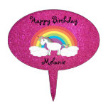 Unicorn cake topper pink glitter
