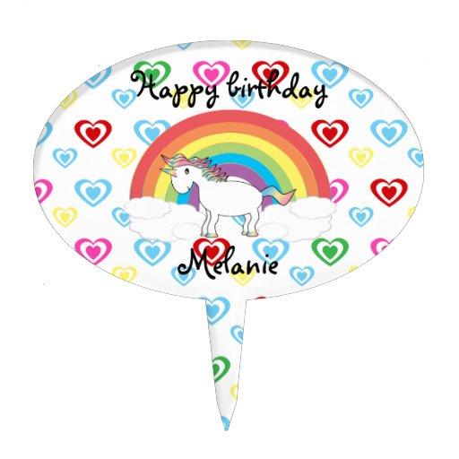 Unicorn cake topper with rainbow hearts