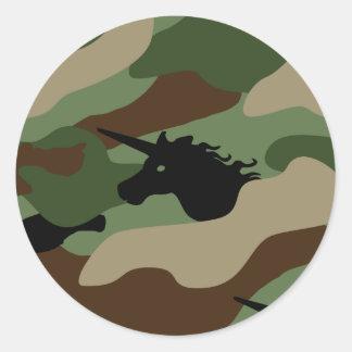 Unicorn Camouflage Round Sticker