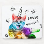 """Unicorn cat - meowgical - color cat - rainbow cat mouse pad<br><div class=""""desc"""">humor paw kitty feline,  drawing sketch cute cats , funny happy crazy lover , pet kitten illustration magic , animal horse cartoon fantasy , horn pink dream sweet,  beautiful unicorns art fairytale , magical doodle color little , fashion tabby domestic adorable , small grey gray pretty</div>"""
