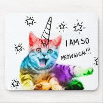 Unicorn cat - meowgical - color cat - rainbow cat mouse pad