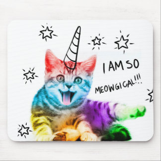 Unicorn cat - meowgical - color cat - rainbow cat mouse pad
