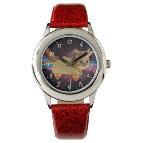 Unicorn cat – taco cat – space cat – tabby cat wrist watch