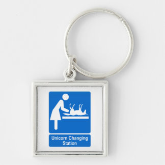 Unicorn Changing Station Silver-Colored Square Keychain