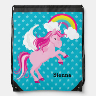 Unicorn * Choose your background color Cinch Bags