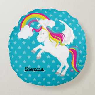 Unicorn * Choose your background color Round Pillow