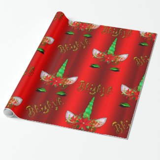 Unicorn Christmas Believe Red Wrapping Paper