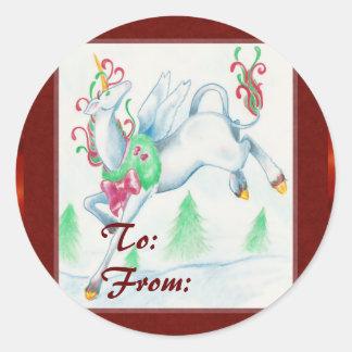 Unicorn Christmas Labels Classic Round Sticker