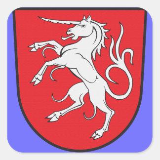 Unicorn Coat of Arms - Schwabisch Gmund Germany Square Sticker