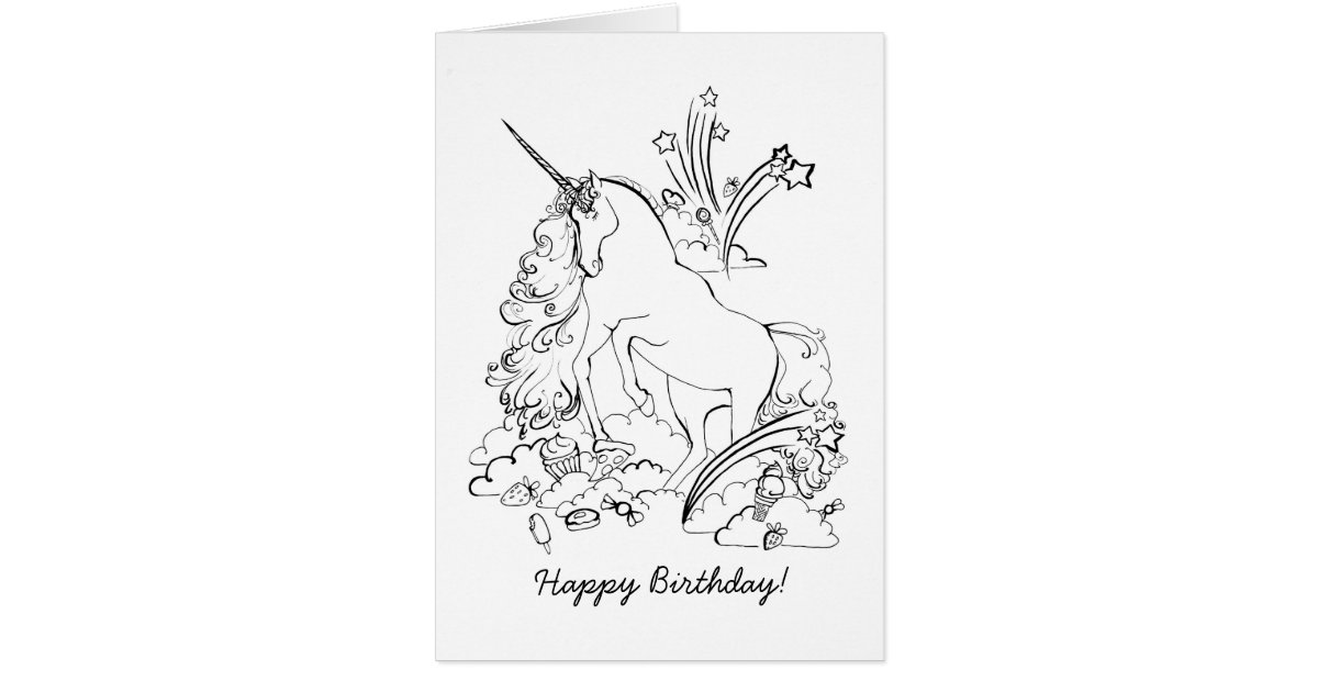 Unicorn Coloring Page Greeting