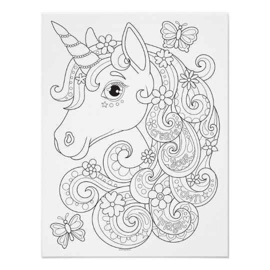 Unicorn Coloring Poster - Colorable Unicorn Poster ...