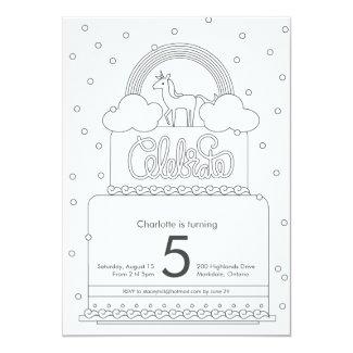 Unicorn Colouring Page Birthday Inviation Card