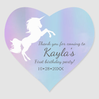 Unicorn, cotton candy colours, custom heart sticker