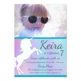 Unicorn, cotton candy colours, custom photo invite