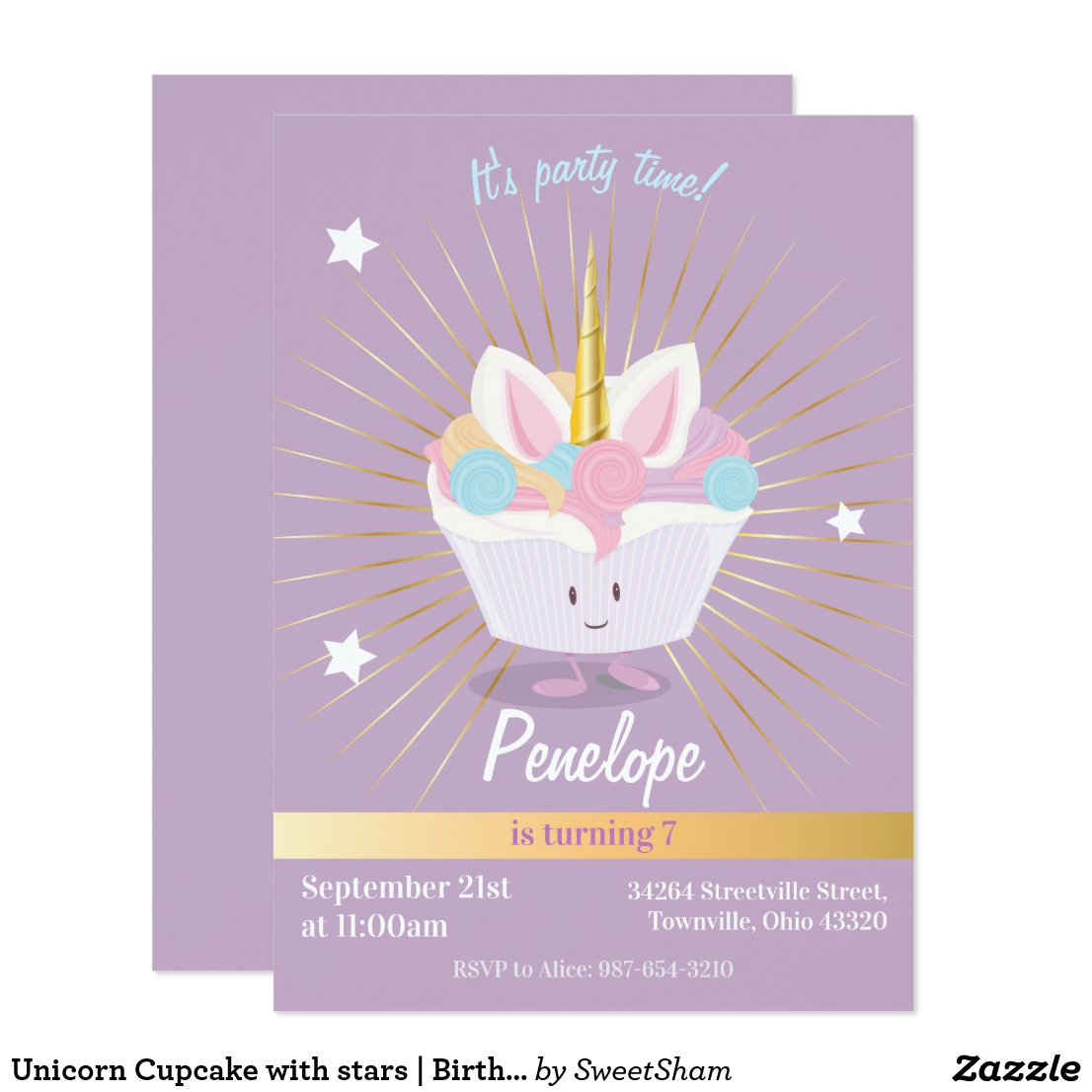 Unicorn Cupcake with stars | Birthday Invitation