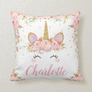 d009b8ee5ac30 Unicorn Cushion Name Nursery Kids Room Decor Pink