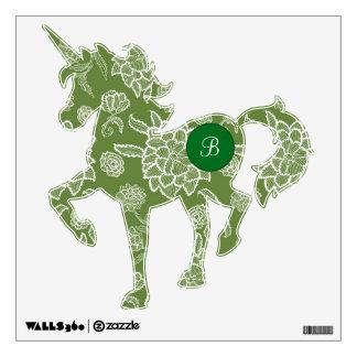 Unicorn Custom Monogram Moss Green White Flowers Wall Sticker