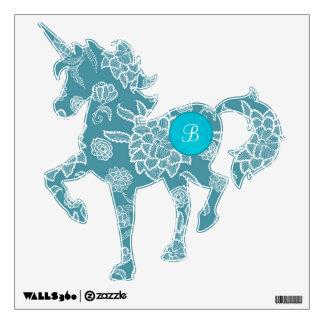 Unicorn Custom Monogram Soft Blue White Flowers Wall Sticker