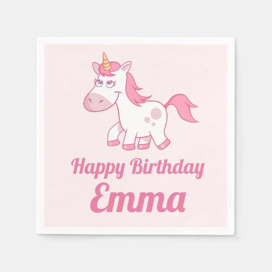 Unicorn Cute Pink Birthday Paper Napkin