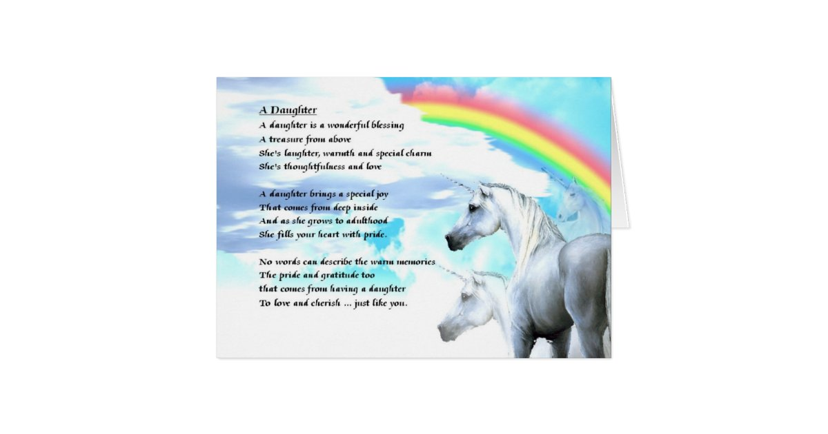 Unicorn Design - Daughter Poem Card   Zazzle