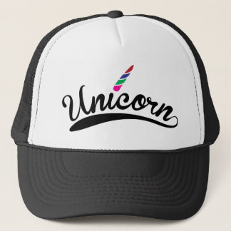 Unicorn Design Rainbow Word Letters Trucker Hat