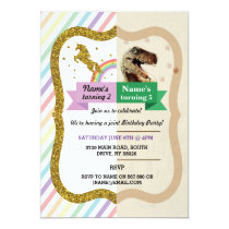Unicorn & Dinosaur Invitations Boy girl Birthday