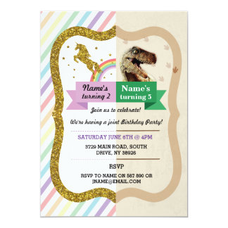 Unicorn & Dinosaur Invitations Boy girl Birthday