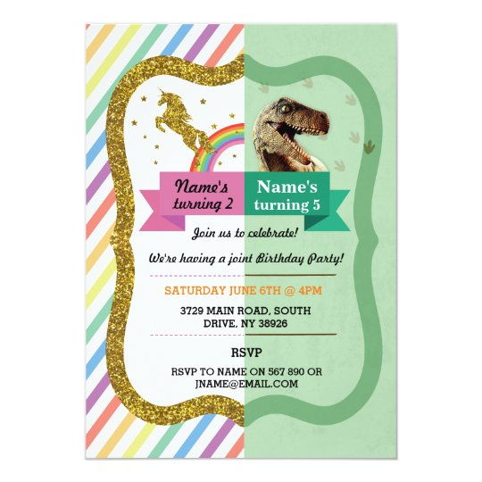 Unicorn Dinosaur Joint Boy Girl Birthday Invites Zazzle Com