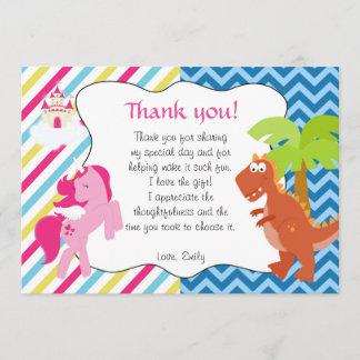 Unicorn Dinosaur Thank You Card Note
